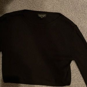 topshop black knitted ribbed long sleeve cropped